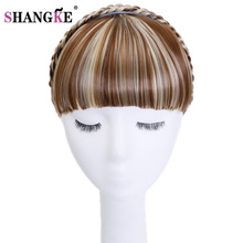 SHANG KE Clip In Hair Bang Synthetic Heat Resistant Fiber Hair Fringe Bangs Braid Headband Straight Natural Hair Front(China)
