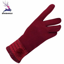 DOUDOULU Womens Gloves Winter Full Finger Guantes Outdoor Sport Warm Gloves Cotton Black Brown Gray Pink Red Dropshipping #XTJ