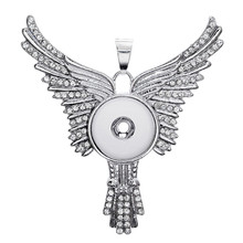 Buy 50cm Link Chain Metal Rhinestone Angel Fairy Wings 18mm Snap Buttons Pendant Necklace Snap Necklace Jewelry DIY Accessories for $2.39 in AliExpress store
