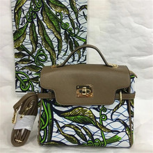 New Wax Printed Hand Bag with nice PU leather + Super real wax print one piece of 6yards  BG1021