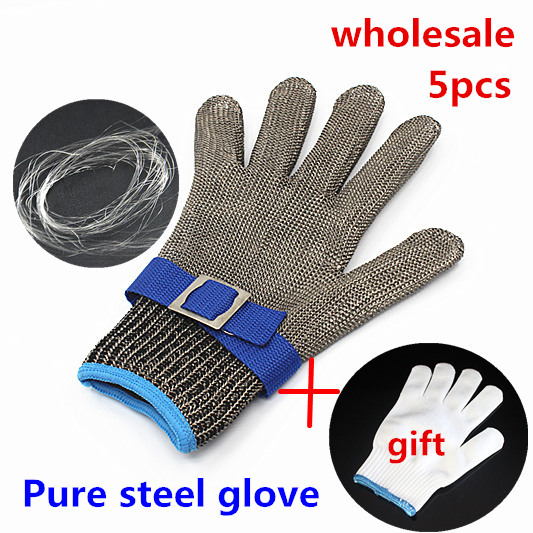 5pc butcher steel gloves safety protection stainless steel metal mesh glove Level 5 Cut Proof kitchen work Tailor cutting gloves<br><br>Aliexpress