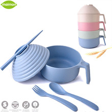 5pcs/set Biodegradable Wheat Straw Handle Cover Bowl Set Adult Children Cutlery Set Brief Home Dinnerware Set Kitchen Tableware