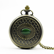 PJX1109 Hand-winding Blue Elegant Jade Inlays Mechanical Pocket Watch With Chain(China)