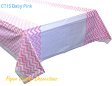 "108*180cm (70"" * 43"") Baby Pink Chevron Plastic Tablecloths Table Cover Girls Birthday Party Event Supplies"