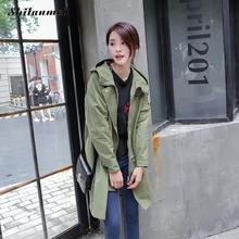 Fashion Trench Coat 2017 Autumn Women Hooded Coats Loose Casual Long Sleeve Zipper Overcoats Waterproof Outerwear Patchwork XXXL