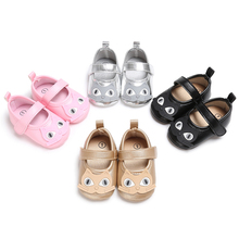 New Fashion Toddler Baby Soft Sole Gold PU Leather Baby First Walkers Shoes animal picture Prewalker Baby Bed Shoes(China)