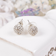 10MM Shamballa Earrings Micro Disco Ball Shamballa Crystal silver plated Stud Earring For Women Fashion Jewelry AE004