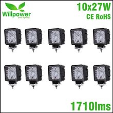 12V IP67 Spot Beam 4x4 Offroad Truck LED Driving Light high power 10 PCS 4 Inch 27W LED Work Light