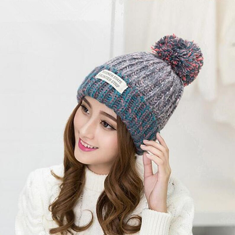 Women Beanies Winter  Knitted Hats Crochet Ball Cap Warm Woolen Fur Pompons Female Girl Skullies Bone Bonnet Gorro  Female CapÎäåæäà è àêñåññóàðû<br><br><br>Aliexpress