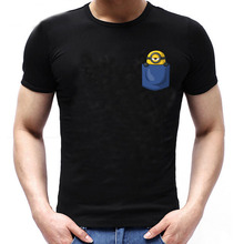 MINION In My Pocket Cute Parody Funny Zinc Cotton T-shirt Men Womens Rock Band Short Sleeve Tops Tees T Shirt Euro Size