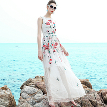 Summer Dresses Brief Fashion 2017 Summer Topshop Sleeveless Slim Vest Floral Embroidery Classic New Style Fairy Mesh White Dress