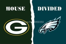 FREE SHIPPING--Green Bay Packers vs Philadelphia Eagles House Divided Rivalry Flag 40141(China)