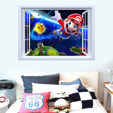 kids bedroom 3d super mario wall stickers removable fake window home decor wall art baby room school stikers