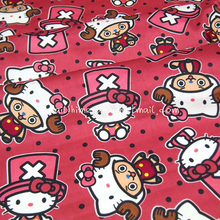 hk140B - 1 Yard Lovely Japanese Cotton Sateen Fabric - Sanrio Cartoon Characters, Hello Kitty and One Piece - Shabby Pink (W140)