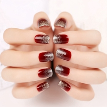 24pcs Sparkly Red Wine Press On Nail Giltter Bling Short Artificial Nails Flat Manicure Accessories with Glue Sticker Z110
