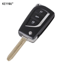 KEYYOU New 3 Buttons Car Flip Folding Key Shell Blank Remote Fob Case For Toyota Corolla EX New VIOS Key Toy43 Blade with LOGO