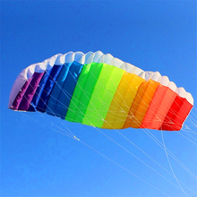 free shipping high quality 2.7m dual line rainbow stunt power kite with control bar lines kitesurf paraglider outdoor fun