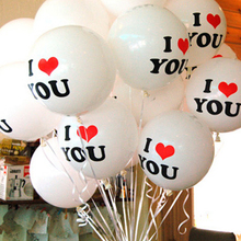 2016 New20pcs/lot White Black Color Wedding Decorations Pearl Latex Balloon I LOVE YOU Good Quality Balloons Valentines Day