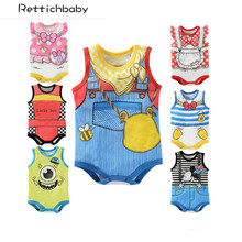 Retail Summer Newborn Fashion Baby Boy Girl Cartoon logo letter Sleeveless bodysuits Infants one-piece bodysuit Baby Clothes