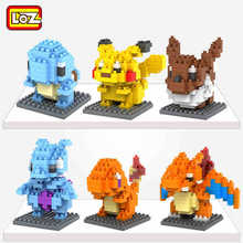 HOT!! LOZ Blocks early educational toys Pikachu Charmander Bulbasaur Squirtle Mewtwo anime Toys children Christmas gifts kids