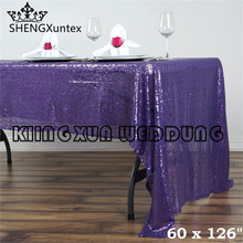 "Factory Price 60""*126"" Rectangular Sequin Table Cloth \ Cheap Price Wedding Tablecloth"