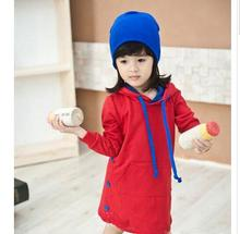 Korean Childrens Clothing Girls Tops Warm Long sleeve  Sweater dresses red Baby Hoodies Sweatshirts Casual Thick Hooded sweater