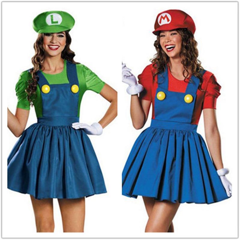 Womens Super Mario Style Plumber Girl Costume