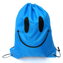 Skeleton smiley letter pattern Beach Bag Storage Bag Beam Pockets Shoes Handbag Drawstring Travel Shoulder Messenger Bag 15(China)