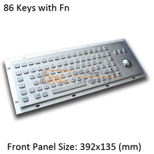 86 Keys Metal keyboard with trackball, metallic industrial keyboard, kiosk keyboard with trackball, IP65 waterproof, anti-vandal