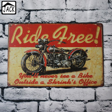 Ride Free Motorcycle Vintage Poster Metal Tin Signs 20X30CM Iron Plate Wall Decor Plaque Club Home Bar Shop Gallery Garage decor