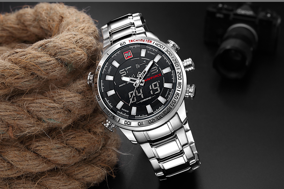 Top Brand Quartz Men Military Sport Watches Mens LED Analog Digital Watch Male Army Stainless Clock Relogio Masculino NAVIFORCE 22