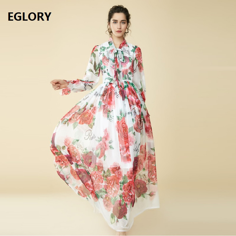 7XL 6XL 5XL 4XL Plus Size Long Maxi Dress 2019 Summer Clothing Women Bow Collar Love Rose Flower Print Silk Long Dress Largo