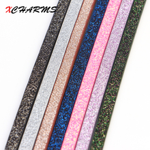 XCHARMS 5mm Small Sequins Flat PU Leather Cord & Rope Diy Jewelry Findings Accessories Fashion Jewelry Bracelet Making Materials