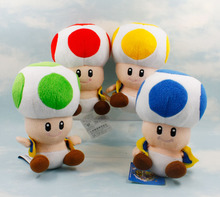 17cm Super Mario Bros Toad Mushroom Blue Red Green Yellow 4 Color Super Mario Plush Doll Toys