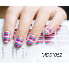 New 16Tips Multicolor Stripes Nail Art Stickers Adhesive ManicureTools Full Cover Nail Polish Wraps Nail Art Foils MDS1052(China)