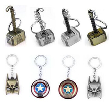 HOT! The Avengers Marvel Character Captain America Shield Hulk Batman Mask KeyChain Keyrings Key Chain Drop Shipping Wholesale