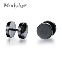 Men Fashion Accessories Dumbbell Design Stud Earring Silver / Black / Gold Stainless Steel Earrings Cool Man Party Jewelry