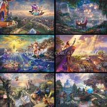 Thomas Kinkade Tinker Bell And Peter Pan Fly To Neverland Wall poster Art Print Painting on canvas wall pictures for living room