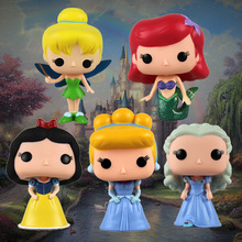 Funko POP Cartoon Princess Snow White Cinderella Tinker Bell Ariel Elsa Anna Hello Kitty Figure Model Toys