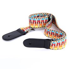 Adjustable Woven Cotton Ukulele Strap With Leather Ends Vintage ukulele color mini guitar straps Musical Accessories Wholesale(China)