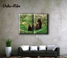 The Nordic sitting room sofa setting wall decoration Contracted and contemporary hang a picture Two couplet painted black bear
