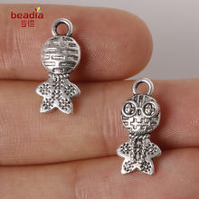 Hot 11pcs/bag 8*17mm Zinc Alloy Metal Charms Antique Sliver Plated Frog Prince Pendants For Jewelry Making Findings