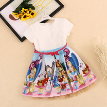 BRWCF Kids Dresses for girls 2017 Brand  Snow White Princess Dress  Print Design for Baby Girls Clothes For Wedding 2-8Years