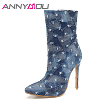 ANNYMOLI Women Denim Boots High Heels Ladies Mid Calf Boots 2017 Autumn Women Fashion Shoes Large Size 33-46 Zip Chaussure Femme(China)