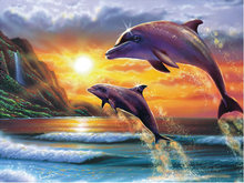 5d diy diamond painting animal dolphin cross stitch crystal round rhinestone pictures diamond embroidery beadwork kits