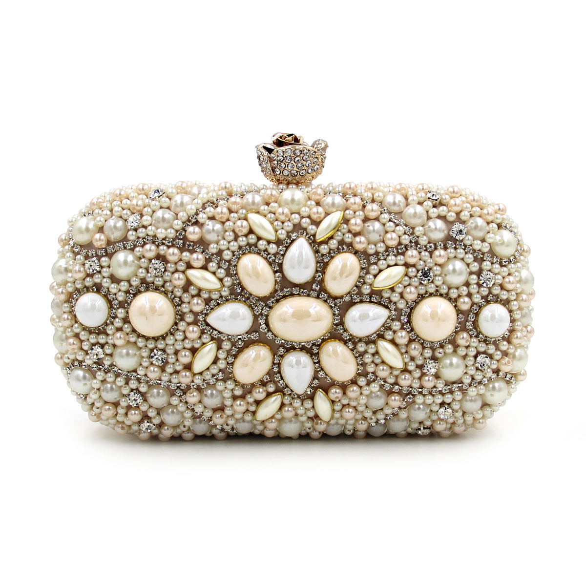 Women Clutch Evening Bags New Multi-color Diamond-studded Beaded Ladies Evening Bags Clutch Industry Pearl Bridal Party Purse<br>