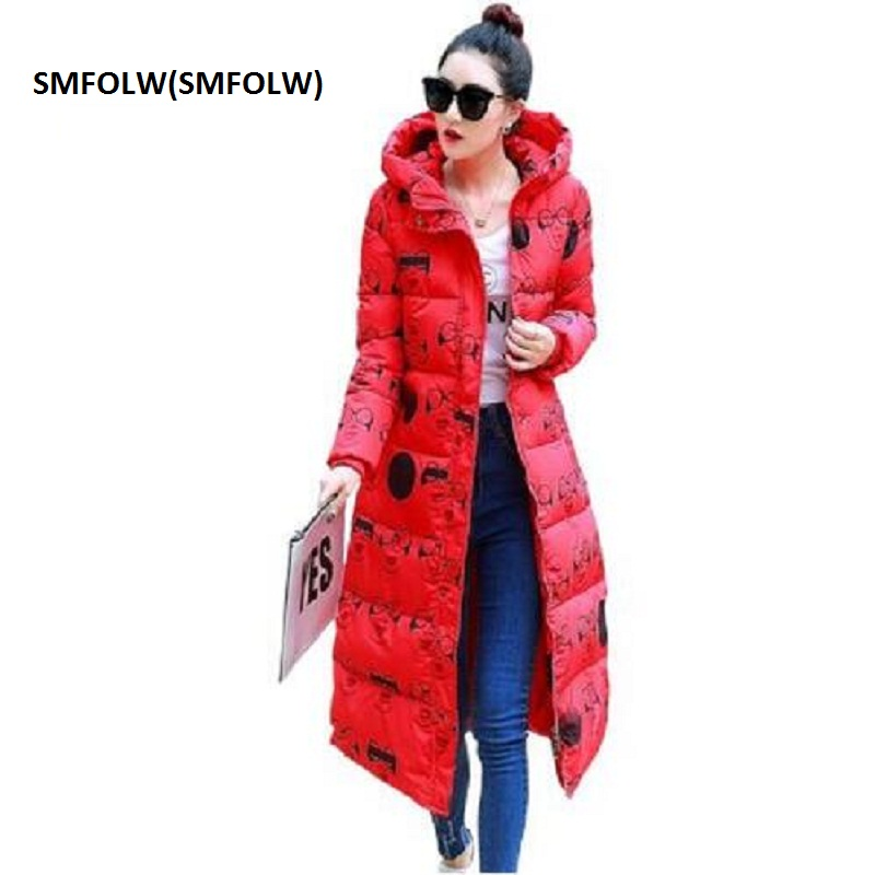 SMFOLW(SMFOLW) 2017  Fashion womens Winter Jackets And Coats Plus Size Print Long Hooded Pocketable Slim Female Parkas OuterwearÎäåæäà è àêñåññóàðû<br><br>