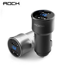 ROCK H2 Dual USB Car Charger Digital LED Display 5V 3.4A Aluminium Alloy Fast Charging Voltage Monitoring For iPhone Samsung(China)