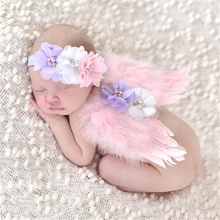 Newborn Pink Angel Feather Wings and pearl flower kids Hairband Hair Band Girl Headband Cute tiara Photography fascinators