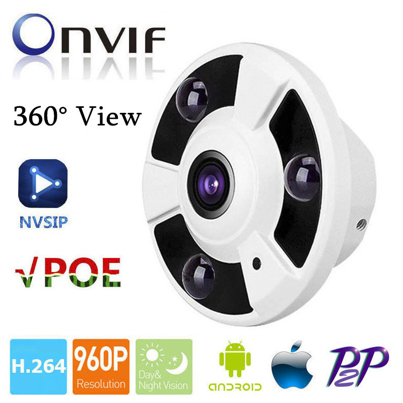 HD 1.3MP 960P Indoor CCTV Security Fisheye Full View Wide Angle 360 Degree POE IP Camera P2P Cloud Onvif Mobile Phone View<br>